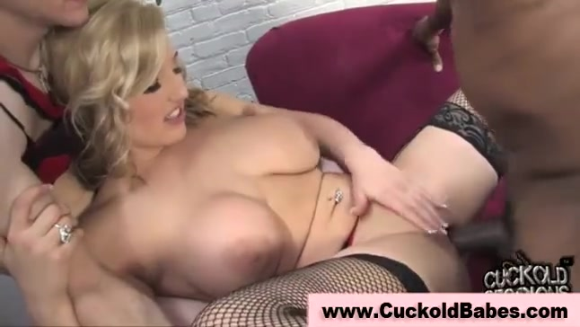 Wimpy husband licks cum of his wife's lover from her sexy white body in front of camera and gets humiliated brutally.