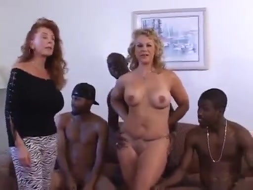 Blonde curvy white mature wife gets blacked in gangbang