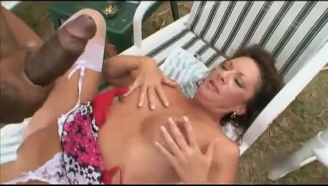 Awesome white mom gets black cock outdoor