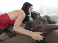 Bimbo brunette hotwife with fake tits gets ravaged