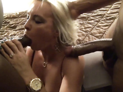 Beautiful blonde hotwife's first interracial MMF threesome