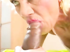 French blonde granny rims her black pimp's ass and gets anal