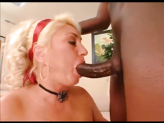 Big titted blonde mature milf blows BBC and gets in her ass
