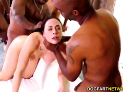 Horny white brunette slut gets gangbanged with DP