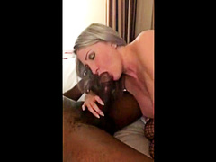 Busty blonde hotwife blows her black master in front of hubby